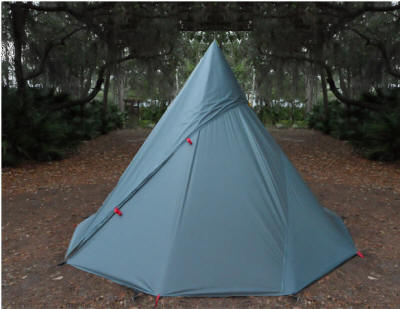 This is by far the best lightweight tipi tarp design for strength, ease of use and reliability